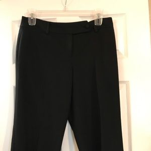 Black wide leg ankle slacks with button details